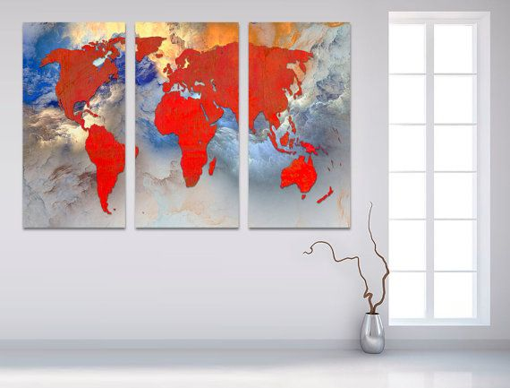The 24 best 3 panel split abstract world map canvas print images on 3 panel split abstract world map canvas print by arttecprints gumiabroncs Image collections
