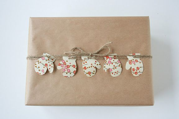 Mittens on a string gift wrap ~ Sweet.