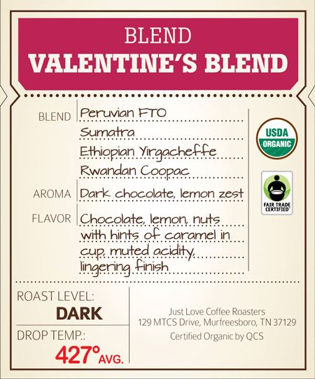 This passionate and romantic #FairTrade blend features Indonesian chocolate and caramel notes, sweet Eastern African fruitiness, and a hint of nuttiness. Tell that special person how much you love them with a hot cup of Just Love Valentine's Blend.