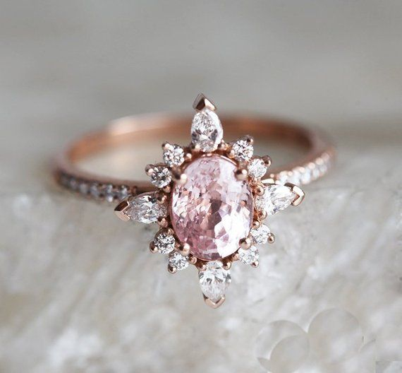 Oval Peach Pink Sapphire \u0026 Diamond Ring, 14k or 18k Solid Gold