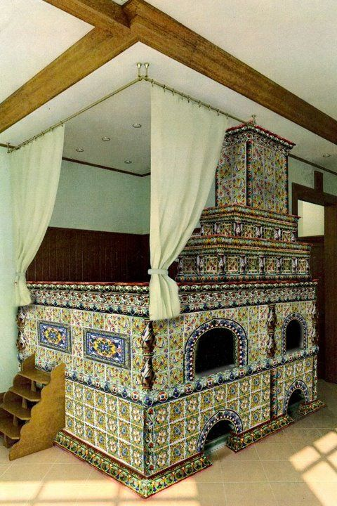 Russian incredible stove. You can warm your house up, cook and sleep on it.