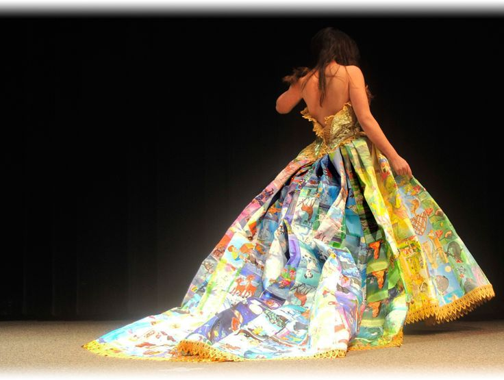 dress made from book spines...amazing