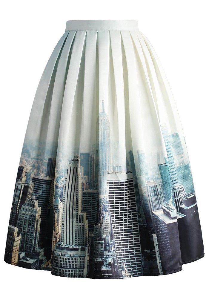 New York Skyline Printed Midi Skirt
