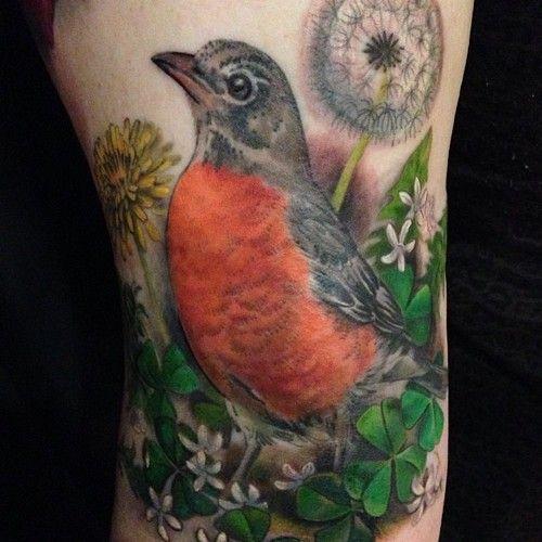 Robin, dandelion, and shamrock by Esther Garcia.