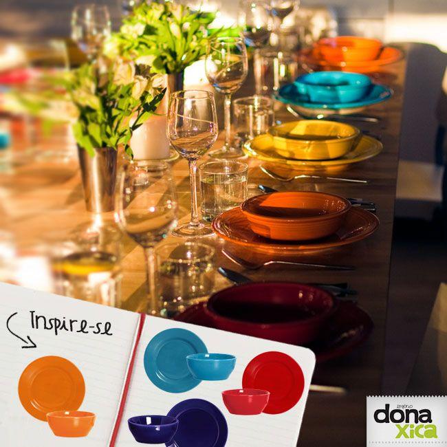 Quem nos segue por aqui sabe que além de amarmos cores, amamos mistura-las! Uma mesa colorida alegra os olhos não é mesmo?   Pratos Coloridos http://www.donaxica.com.br/loja/mesa-e-cozinha/pratos-e-loucas/prato-raso-std  Bowls Coloridos http://www.donaxica.com.br/loja/mesa-e-cozinha/pratos-e-loucas/bowl-cereal