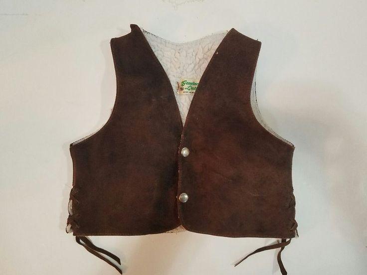 Vintage Childrens Genuine Leather Wool Lined Harley Davidson Vest Made/ Mexico #GenuineLeather #LeatherandWoolVest
