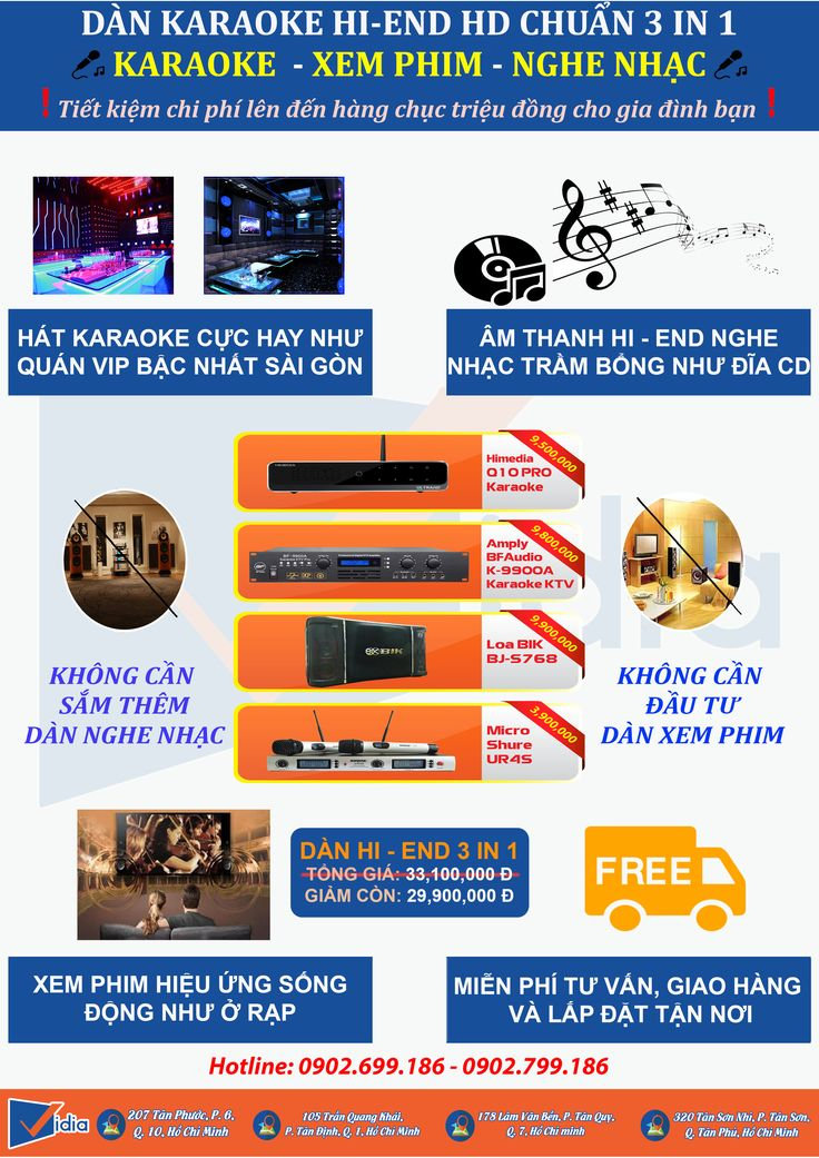 Waoooo...Quá đỉnh cho 1 dàn karaoke - Dàn Hi-end 3 trong 1 Biến tivi thường thành smart tivi - Tha hồ tận hưởng các ứng dụng giải trí như game, youtube, facebook.Hát karaoke đỉnh như ở quán - Dàn karaoke Hi-end này bảo đảm độc nhất vô nhị.Bạn không cần phải sắm thêm dàn nghe nhạc. Không cần tốn kém đầu tư dàn xem phim. Vì tất cả đều đã có trong dàn karaoke 3 trong 1 này. Tham Khảo tất cả các thiết bị của dàn Hiend: http://vidiashop.com/dankaraokehi-end