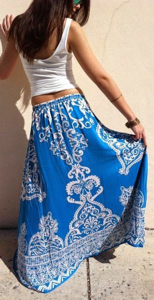 Printed maxi skirt in a cheery sky blue