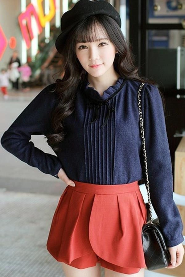 Sweet Stand Collar Crop Pleated Blouse - OASAP.com