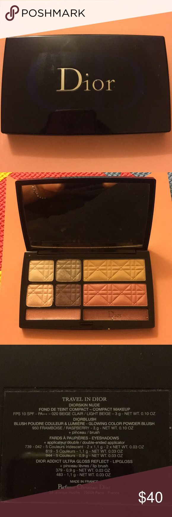 Dior travel in Dior pallets A palette with foundation compact, blush, eye shadow and lip gloss.  Gently used. Like new.   Sell as is. Dior Makeup Eyeshadow