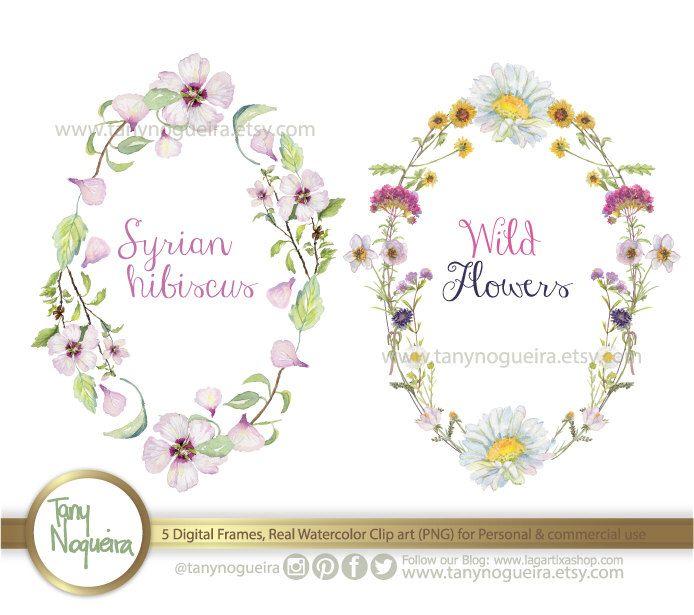 Floral wreaths 🌺 https://www.etsy.com/mx/listing/229503431/5-marcos-flores-acuarela-coronas-png #Watercolour #wreaths #Cards #weddinginvitations #weddingshower #PNG #love
