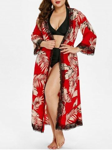 fc6c00053eb83 Pin by Miranda Miler on ROSEGAL SWIMSUIT in 2019 | Leaf prints, Cover up,  Plus size
