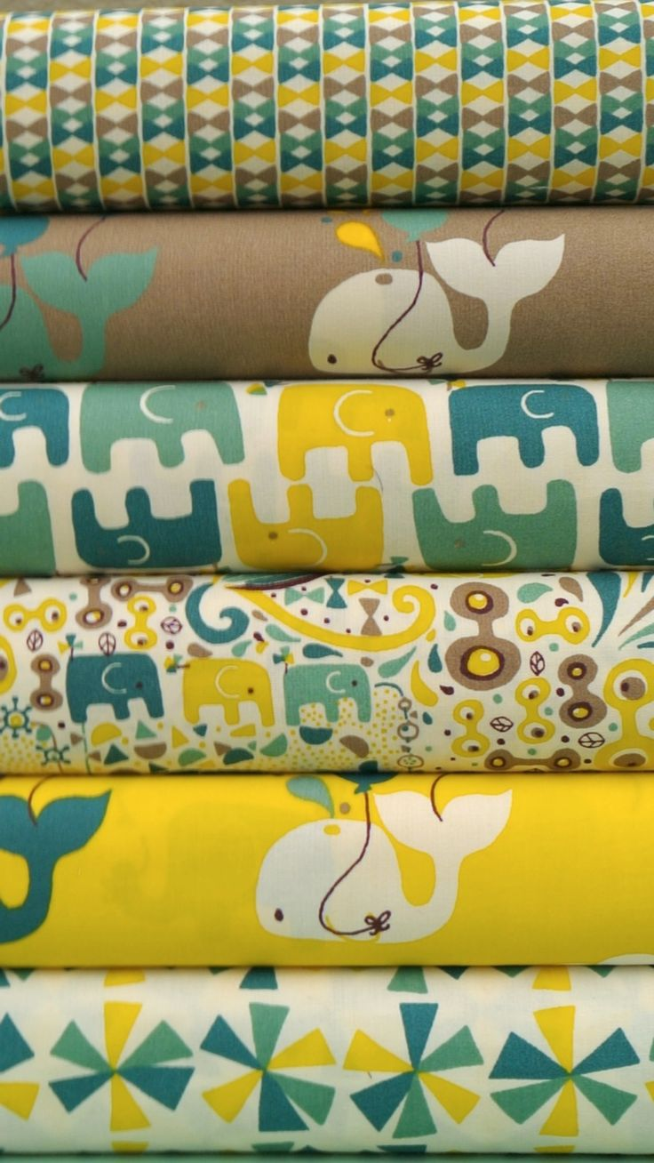 I like this color scheme, but not sure how I feel about Elephant/Whale mix. Rebekah Ginda for Birch Organic Fabrics, Frolic,