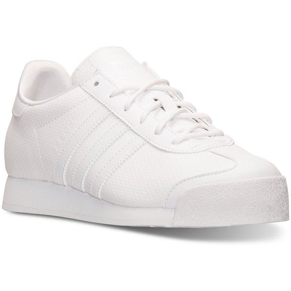 adidas Women's Samoa Casual Sneakers from Finish Line ($65) ❤ liked on Polyvore featuring shoes, sneakers, retro sneakers, 80s sneakers, adidas trainers, 80s shoes and 1980s shoes
