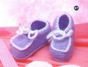 Receita de Tricô: Sapatinho de bebê Lilás