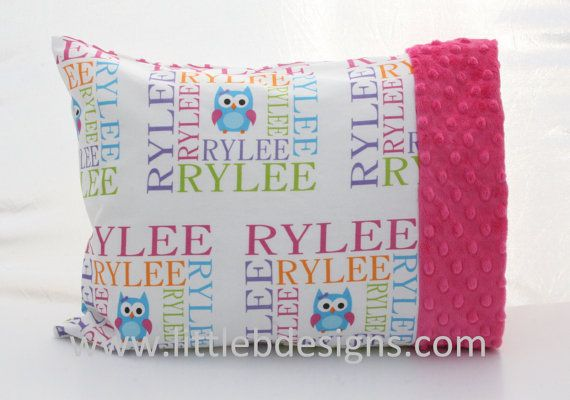toddler girl owl room pink green orange | Personalized Girl Owl Toddler Pillow Case and by littlebnursery