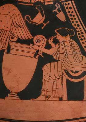 3-Il mistero di una donna artigiano nell' antica Grecia ,deve trattarsi della più antica immagine di una donna artista al lavoro.