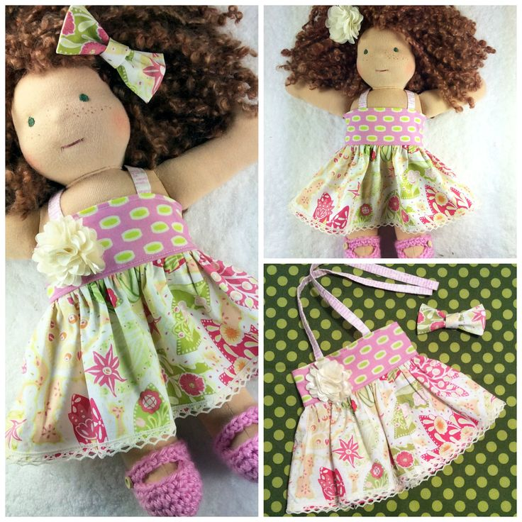 12-14 inch doll dress set, Cuddle doll clothes – Ensemble poupée waldorf 12-14 po - from #mylittlepoppyseed - Available here:  https://www.facebook.com/groups/1510969519205662/permalink/1536624529973494/