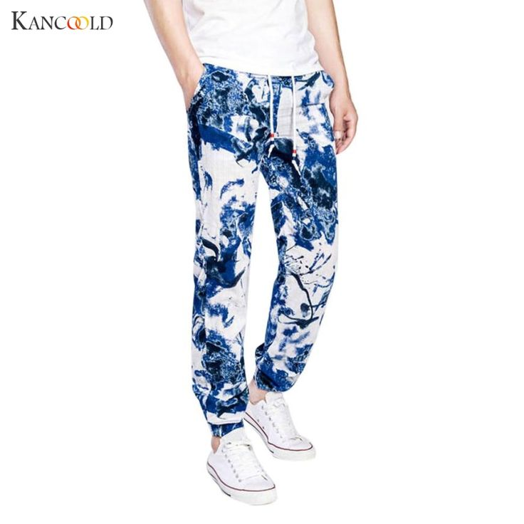 2017 Fashion Men linen pants Comfortable Male trousers Print pants casual straight pants plus size M-2XL Drop Shipping JU263 #Affiliate