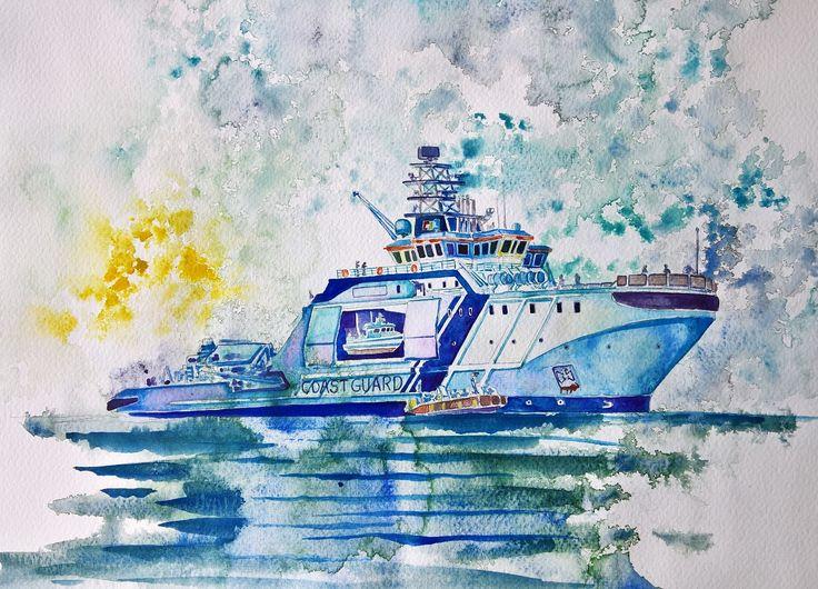 """""""Finnish Coast Guard Ship Turva"""", aquarell on paper, 31x41cm, 2016"""