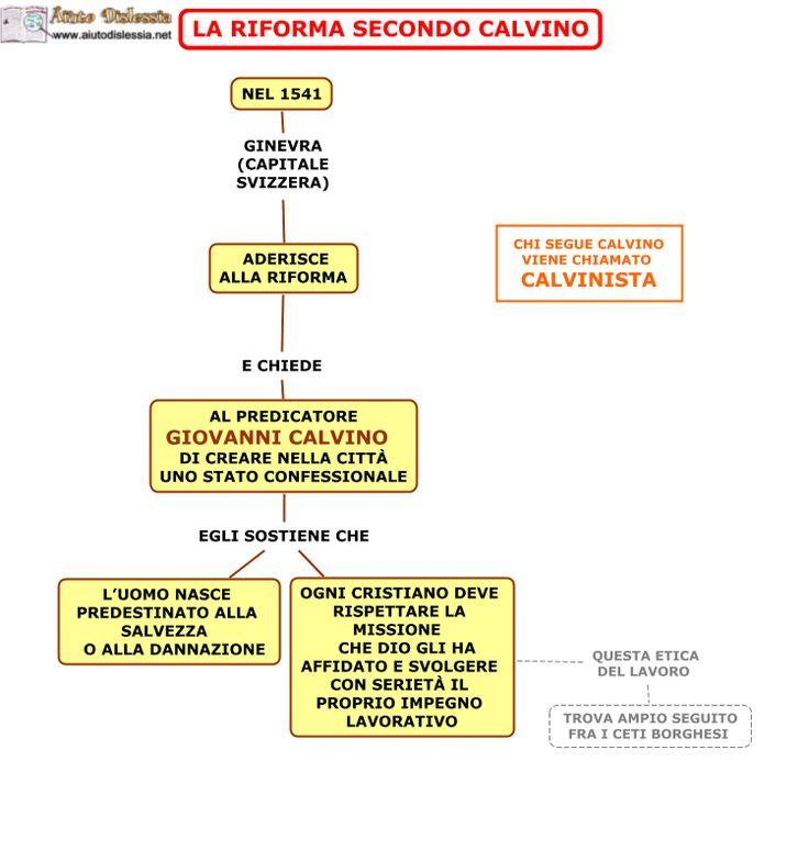 Mappa concettuale in cui viene affrontato il tema della Riforma secondo Giovanni Calvino.