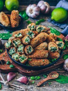 Vegane Kroketten mit Spinat (glutenfrei