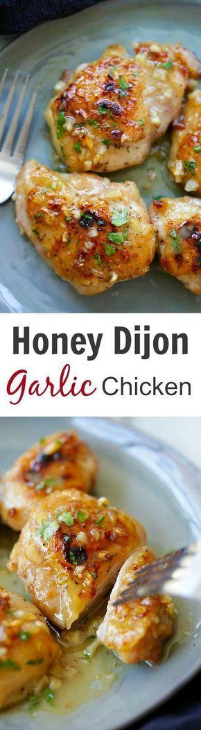 Honey Dijon Garlic Chicken – super delicious skillet chicken with amazing honey Dijon garlic sauce. So easy as dinner is done in 15 mins!   rasamalaysia.com