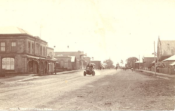 The main street of Campbell Town, Tasmania in the 1920s
