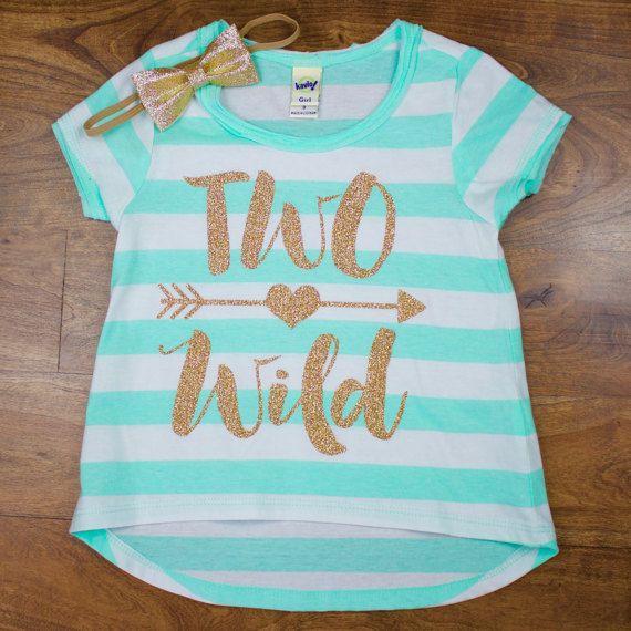 Girls Two Wild 2nd Birthday Shirt | Gold Two Wild Shirt on Mint Green/White Stripe Short Sleeve Shirt | Girls 2nd Birthday Shirt by OliveLovesApple