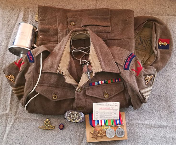 Attributed Uniform Grouping To Rsm Harrison Serving With The Royal Artillery In 53rd Welsh Division Through France Holland And Germany