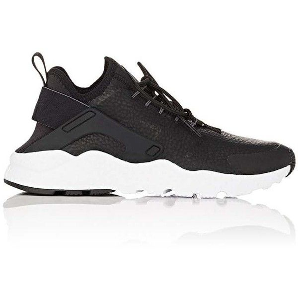 Nike Women's Women's Air Huarache Run Ultra Premium Sneakers (€110) ❤ liked on Polyvore featuring shoes, sneakers, black, black laced shoes, low top, nike trainers, laced up shoes and black lace up shoes