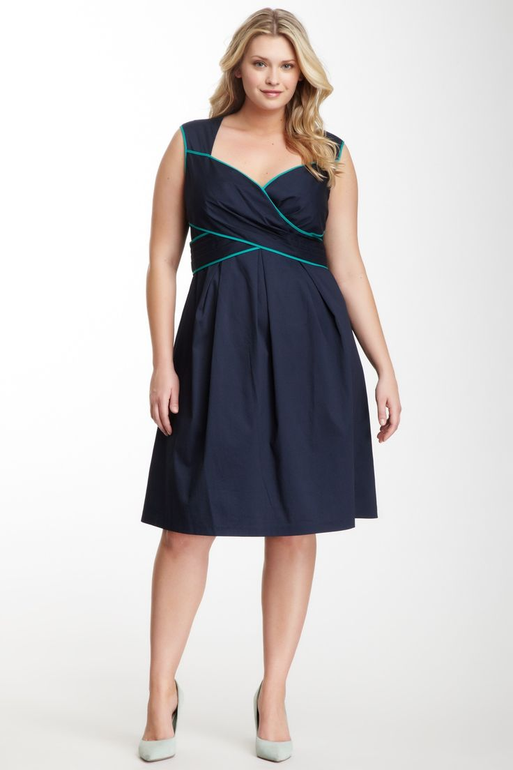 Jessica Simpson Plus Crisscross Contrast Piping Dress -