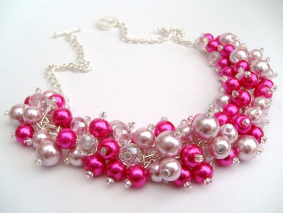 Hot Pink Pearl Beaded Necklace Hot Pink Bridesmaid by KIMMSMITH