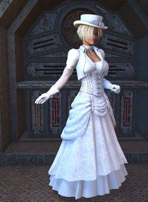 In white version of steam punk wedding dress