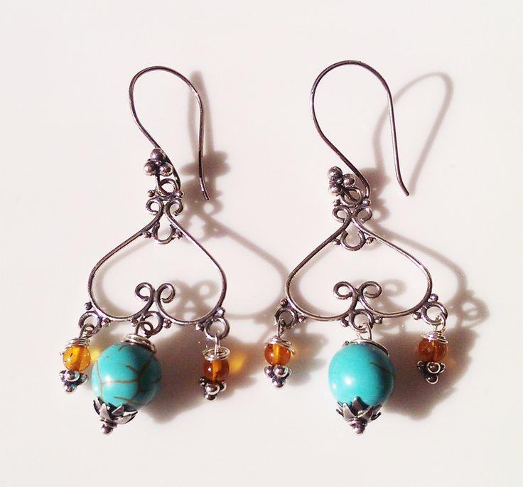Blue Howlite Resin Sterling Silver Earrings