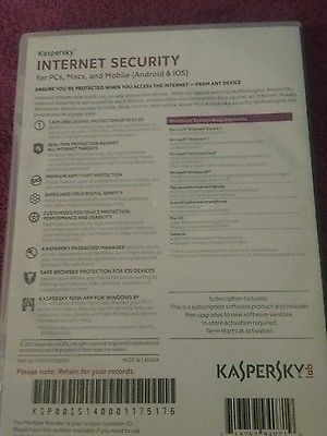 New Kaspersky lab Internet Security  3 Devices