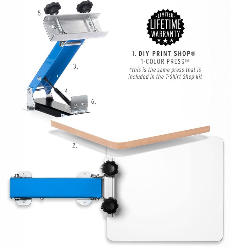1. DIY Print Shop® 1-Color Screen Printing Press™ • designed by screen printers • made in the USA • blue & black powder-coat • light-weight aluminum & steel construction • smooth glide air shock • lif