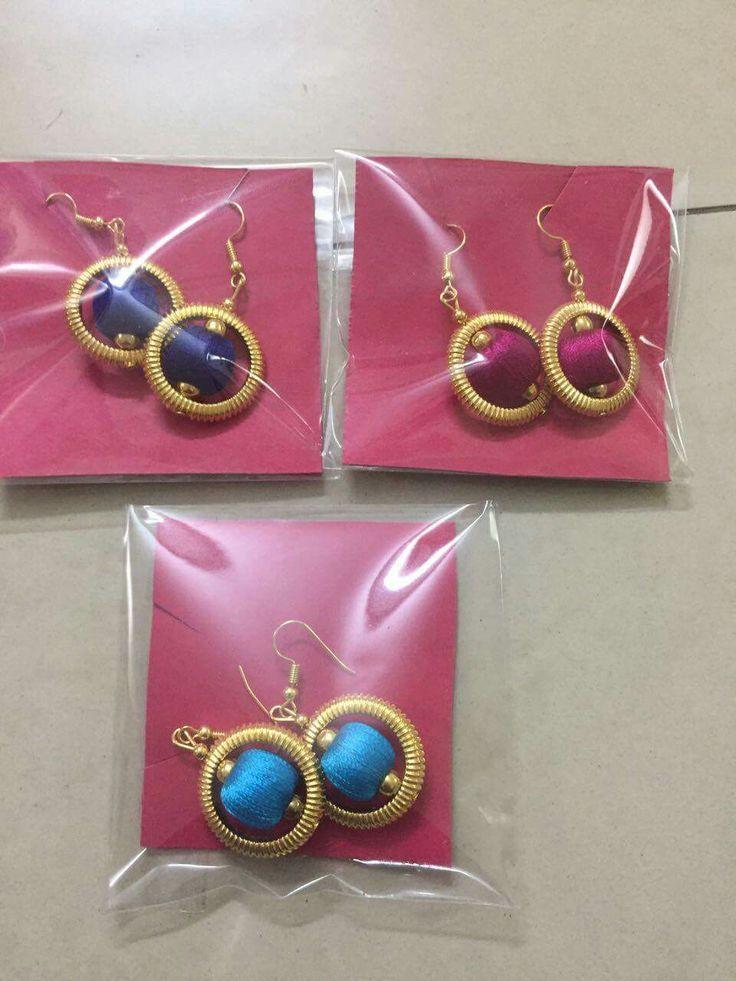 beaded silk thread earrings