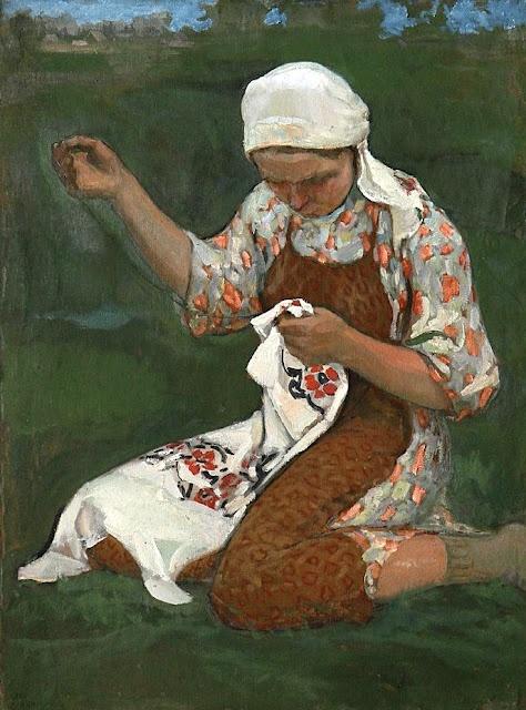 Sergei Arsenievich Vinogradov (Russian artist, 1869-1939) Sewing
