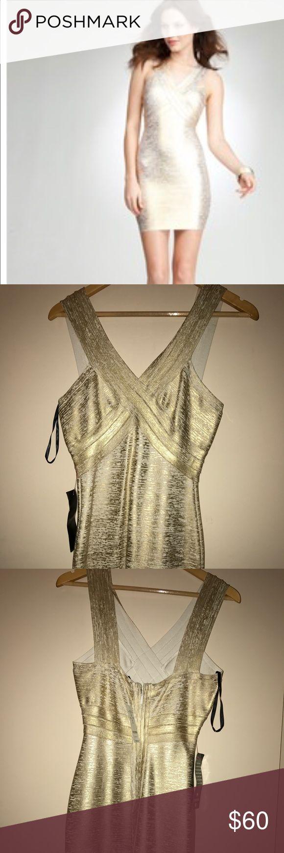 Bebe Night Out Dress! Coated gold bodycon dress. bebe Dresses Mini