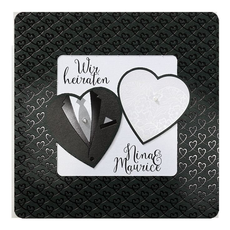 """Luxuriöse Hochzeitskarten in """"Schwarz & Weiß"""" online bestellen bei Top-Kartenlieferant in Aachen."""