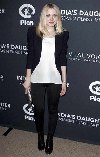 """Dakota Fanning attends the premiere of """"India's Daughter"""" at Baruch College in New York on March 9, 2015."""