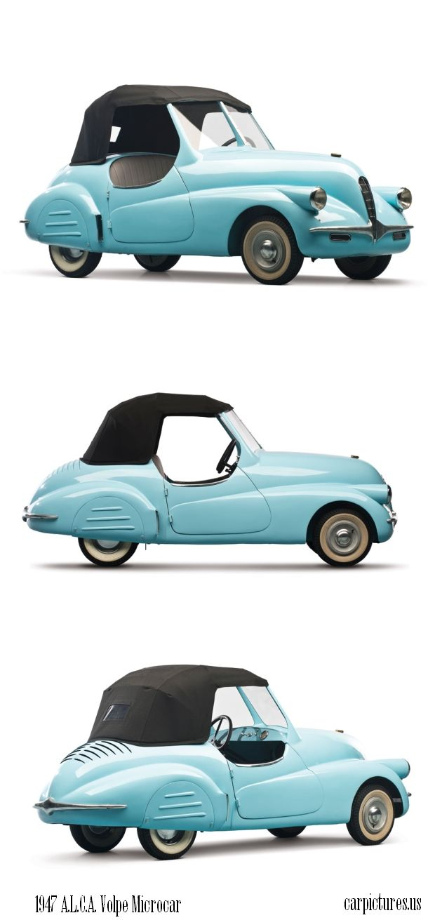 1947 A.L.C.A. Volpe Microcar Concept. This 1947 A.L.C.A. Volpe Microcar Concept is up for sale. The vehicle will be presented on the auction block on The Bruce Weiner Microcar Collection.
