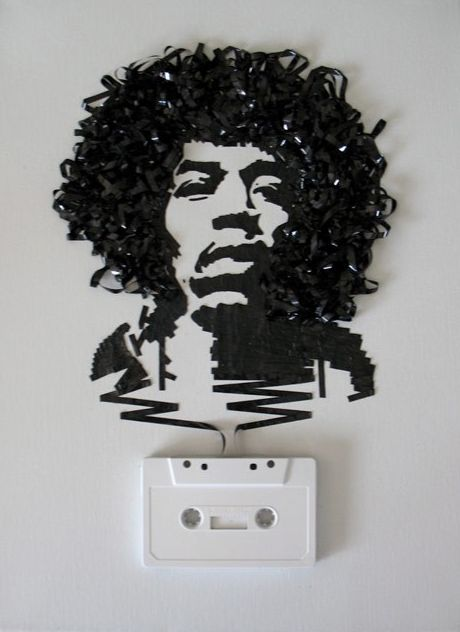 Upcycled Cassette Tape Art. #Jimi #Hendrix Just grab some carbon paper and glue and you're good to go!