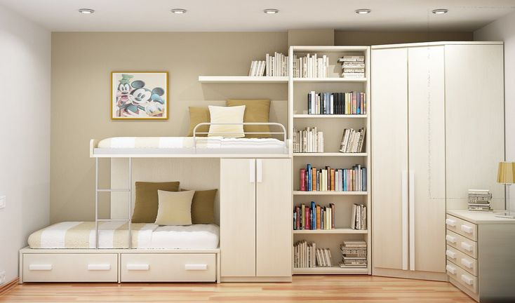White modern study room with double deck bed, bookshelves and cabinets. #KBHome