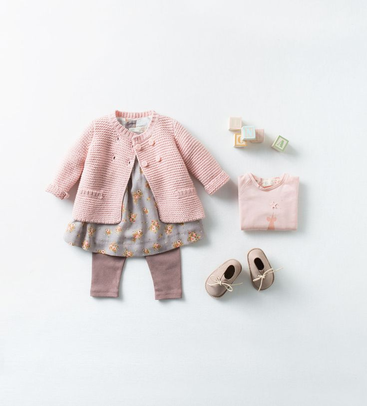 Zara Baby Hand Knit Pink Cardigan, Printed Dress & Leather Boots