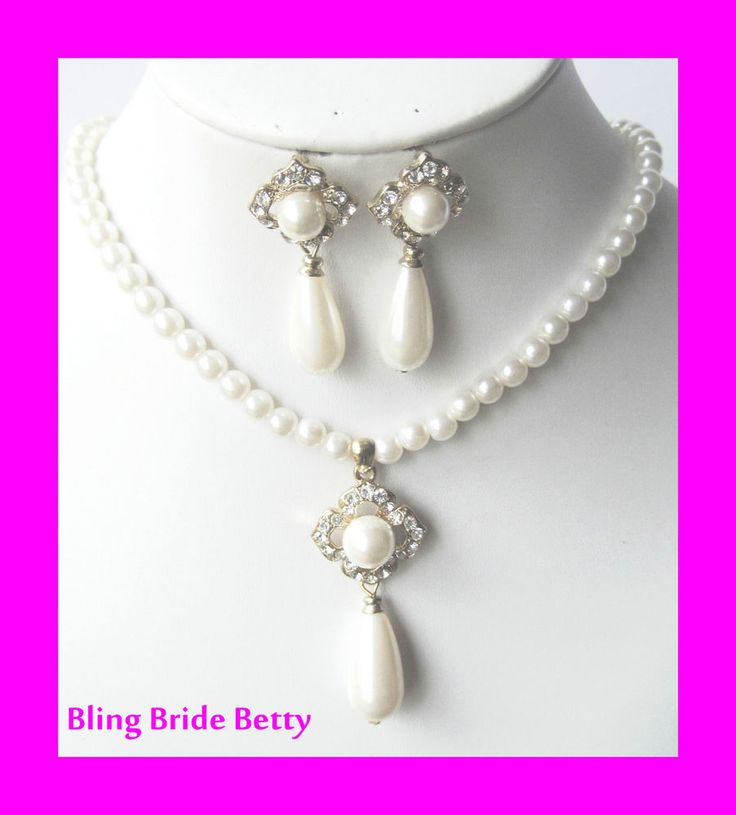 Cream Pearl Bridal Necklace Earring Set with Crystal Teardrop Pendant gold Tone