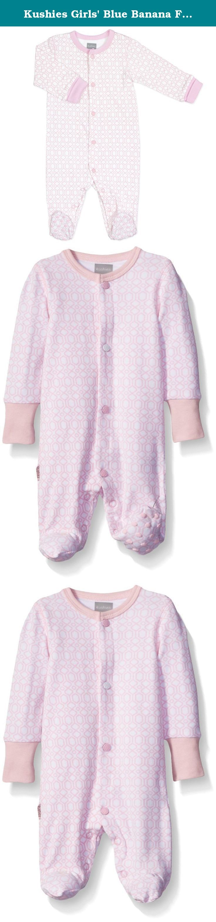 Kushies Girls' Blue Banana Floral Bow Footie Pajamas Footed Sleeper Baby Pajamas, Light Pink, 06 Months. Made of 95 percent cotton and 5 percent lycra for comfort and softness, this geo baby front snap sleeper stands out in a crowd. The Kushies sleeper offers a snap front closure and built-in feet to keep your baby's little feet cozy and warm.