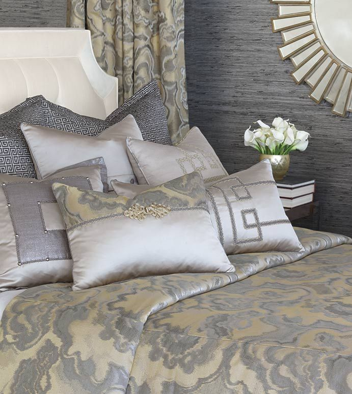 Amal Luxury Bedding Designer Bedding Glitz Glam Glamorous Silver Gold Metallic Footstool Luxury Bedding Sets Panel Curtains Reversible Duvet Covers