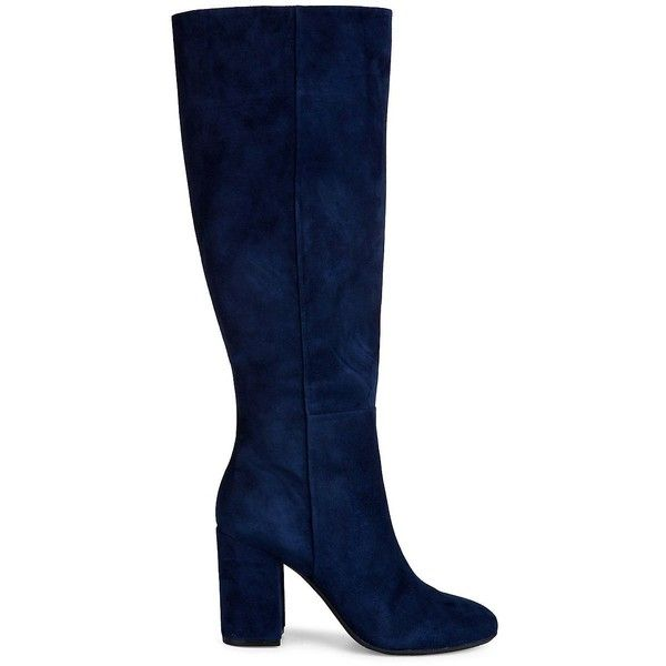 Kenneth Cole New York Women's Clarissa Knee-High Suede Boots (€195) ❤ liked on Polyvore featuring shoes, boots, navy, navy suede knee high boots, stacked heel knee high boots, round toe knee high boots, navy blue boots and navy knee high boots